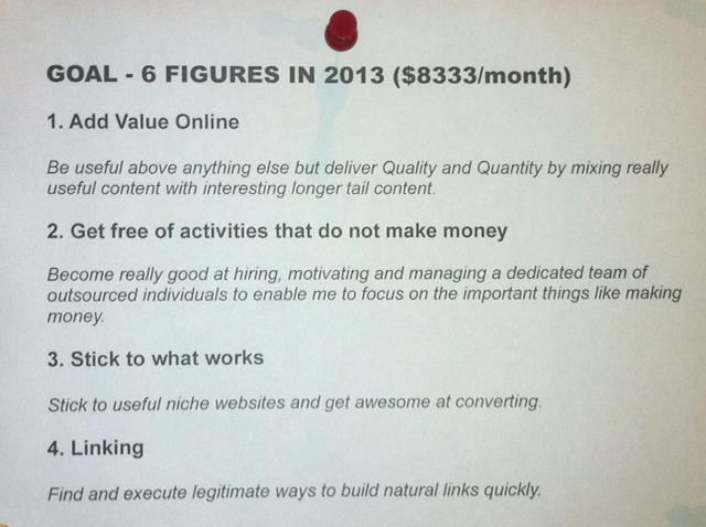 Goal 2013 and Focuses for making money online